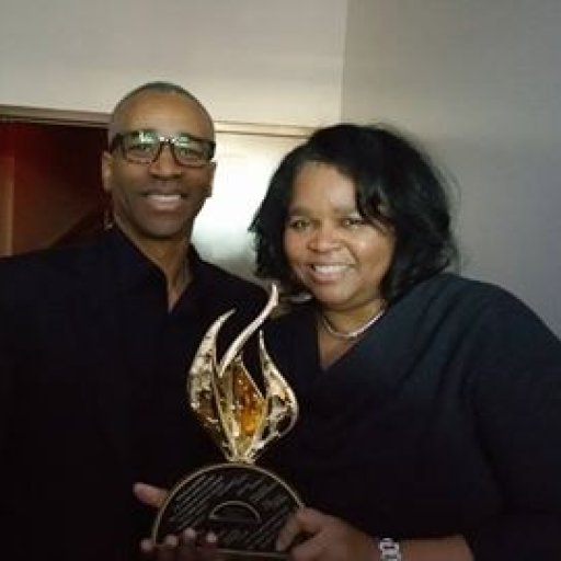 Praise 104.7FM just won the Stellar Award for the Medium Market Radio! Congratulating me is Jerry Smith