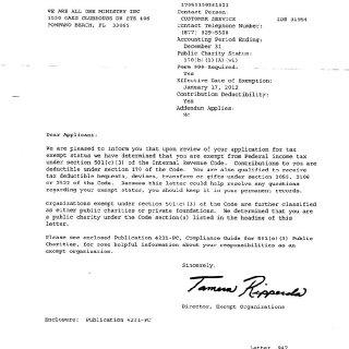 NON PROFIT 501 (C) (3) DOCUMENT