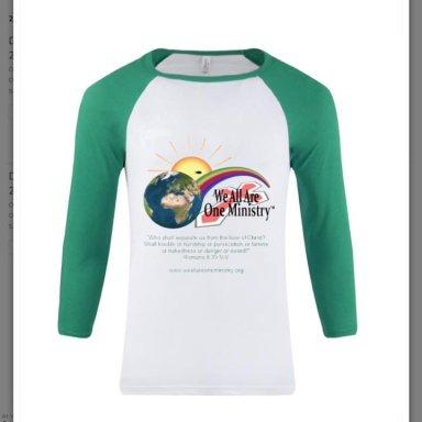 Three quarter sleeve unisex baseball shirt